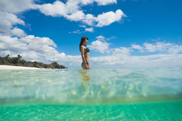 Young beautiful woman in the ocean. Split photo. Travel concept
