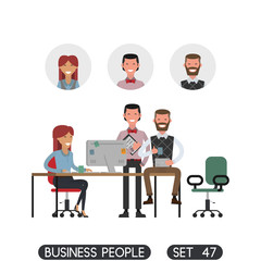 Scenes of people working in the office. Interior office. White background. Business people set. Vector illustration