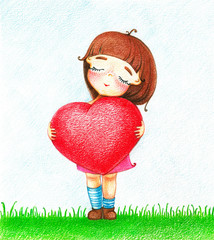 Hands drawn picture of young girl in pink dress with red heart standing on grass by the color pencils