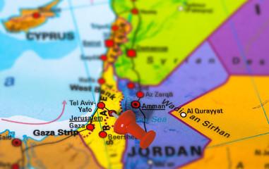 Jerusalem in Israel pinned on colorful political map of Middle East. Geopolitical school atlas. Tilt shift effect.