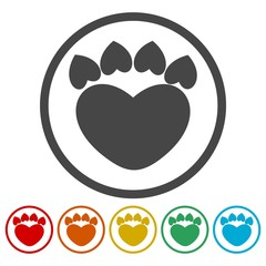 Paw Sign Heart icons set