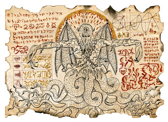 Old parchment with mystic drawings with evil demon and black magic symbols