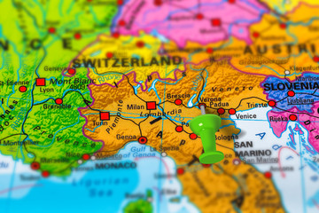 Pescara in Italy pinned on colorful political map of Europe ...