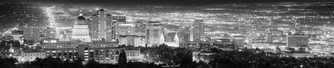 Salt Lake City black and white panoramic picture, USA.
