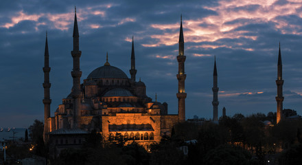 Six Minarets of Sultan Ahmet mosque in sunset, Istanbul