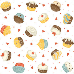 Cute seamless muffins pattern