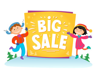 New Year Big sale background with kids .Vector illustration