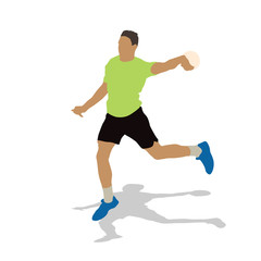 Handball player in green jersey throwing ball. Abstract vector i