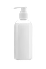 White plastic bottle with pump, used for liquid soap, shampoo an