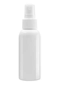 White Cosmetic bottle with spray pump isolated on white backgrou