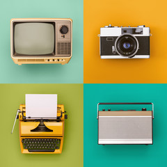 Vintage / retro tv, radio, camera, typewriter set