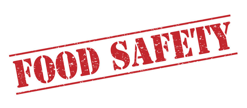 food safety red stamp on white background