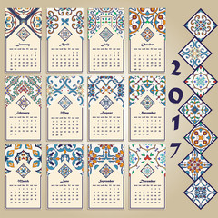 Vector calendar 2017. Portuguese, Azulejo, Moroccan; Spanish; Arabic; asian ornaments