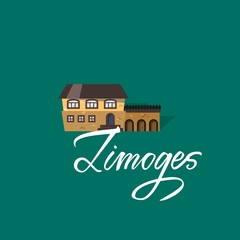 Limoges and castle. France city hand drawn vector lettering. Modern calligraphy brush lettering. Ink lettering.