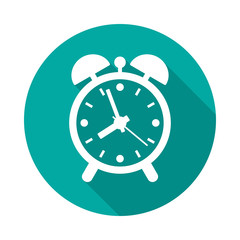 Alarm clock circle icon with long shadow. Flat design style. Alarm clock simple silhouette. Modern round icon in stylish colors. Web site page and mobile app design vector element.