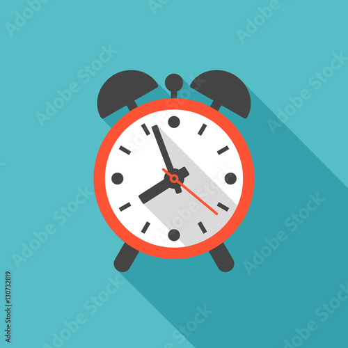Alarm clock icon with long shadow  Flat design style  Clock