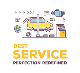 Vector creative illustration of car service workshop on white ba