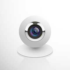 Realistic computer web cam isolated on white, vector illustration