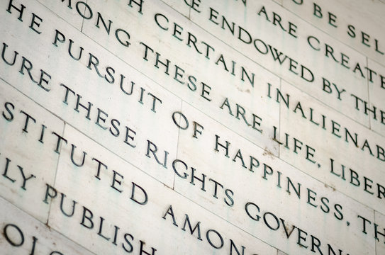 Inscription in the Jefferson Memorial in Washington DC of inalienable rights (including the famous quintessentially American pursuit of happiness) from the US Declaration of Independence