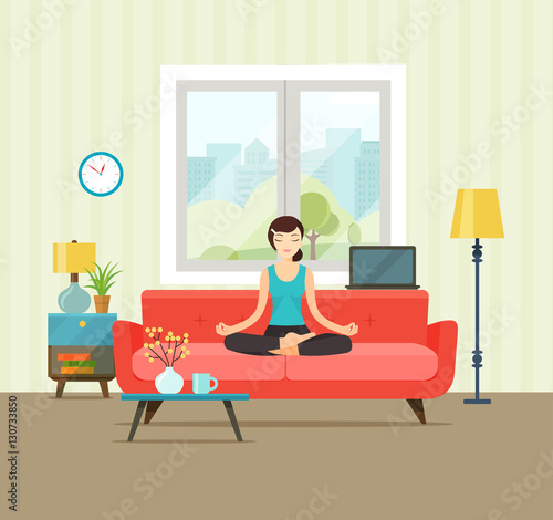 Living Room. Woman In Yoga Pose, Lotus Position. Vector Flat