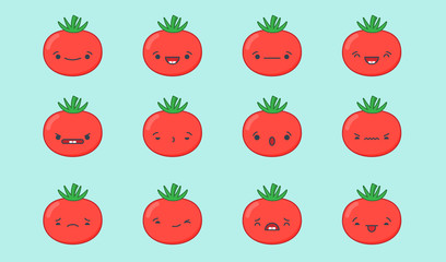 Set of vector kawaii tomato emoticons. Isolated on light blue background.
