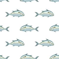 Seafood product Indian mackerel seamless pattern