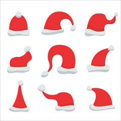 Set of Red Santa Claus Hats isolated on white background. Winter Merry christmas and new year celebration vector illustration.