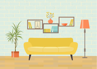 Retro interior living room with bookcase,sofa, houseplant. Vector flat illustration