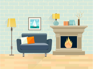 Interior living room. Fireplace and chair. Vector flat illustration