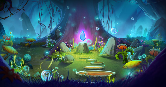 Fantasy and Magical Forest. Video Game's Digital CG Artwork, Concept Illustration, Realistic Cartoon Style Background