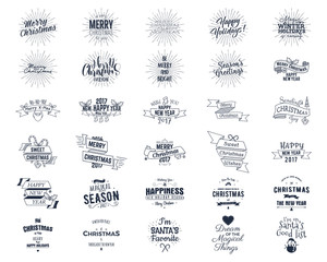 Big Christmas bundle - typography wishes, funny badges, holiday icons and other elements. New Year 2017 lettering, sayings and vintage labels. Season's greetings calligraphy. Stock image isolated