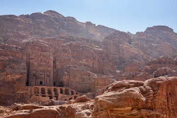 view of one of the Royal tombs in Petra.