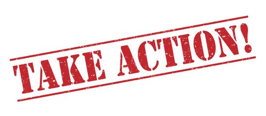 take action! red stamp on white background