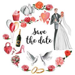 Watercolor wedding pattern Groom, bride, hearts, invitation