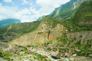 四川省の山岳地帯