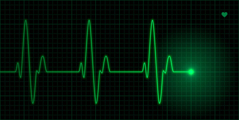 Green heart pulse, ECG