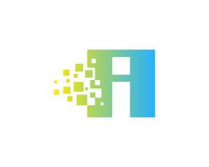 Letter I Square Pixel Logo Design Element