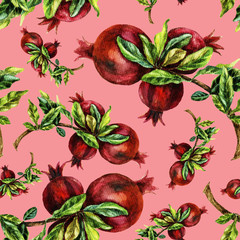 Watercolor hand painting seamless pattern with pomegranate branches.