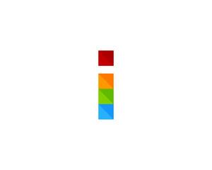 Letter I Square Color Pixel Logo Design Element
