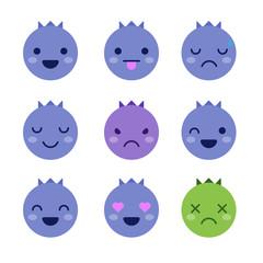 Cute minimalistic blueberry emoticons isolated on white background.
