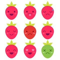Cute minimalistic strawberry emoticons isolated on white background.