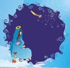 bożonarodzeniowa dekoracja z matką boską,