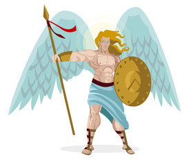 angel warrior with shield and spear and wings