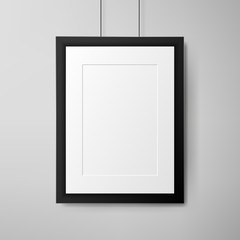 Black frame on white wall. Realistic vector illustration