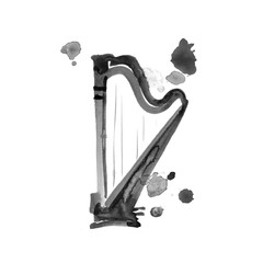 Isolated watercolor harp on white. Beautiful classic instrument.
