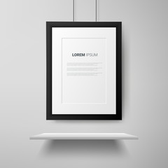 Black frame with shelf on white wall. Realistic vector illustration