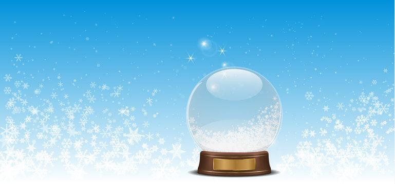 snow globe on snow flake over bluesky