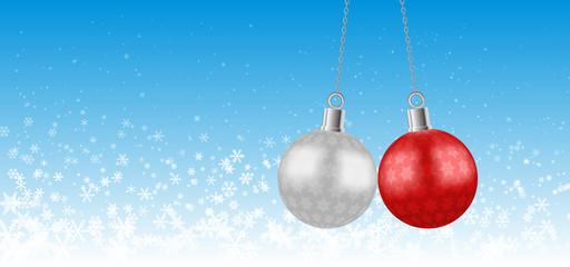 christmas ball on snow flake background