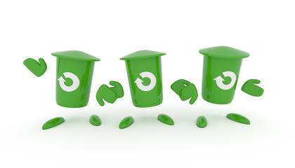 Recycling concept with green garbage bin