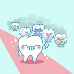 happy cartoon tooth with paparazzi